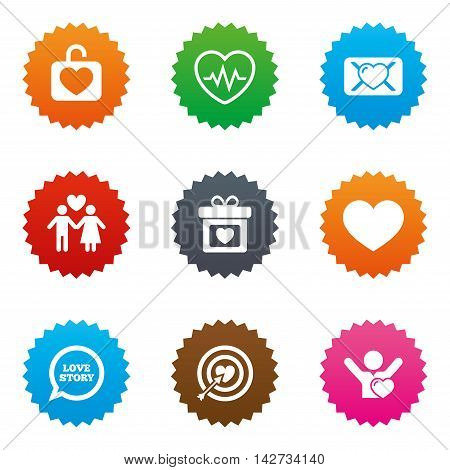 Love, valentine day icons. Target with heart, oath letter and locker symbols. Couple lovers, heartbeat signs. Stars label button with flat icons. Vector