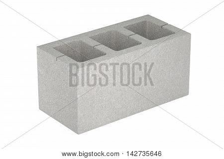 Concrete masonry unit 3D rendering isolated on white background