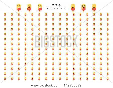 Great set of 224 emotions on ice cream isolated on white background. Characters smile Emoji for Web. Anger and compassion. Laughter, tears. Smile sadness surprise. Happiness fear.