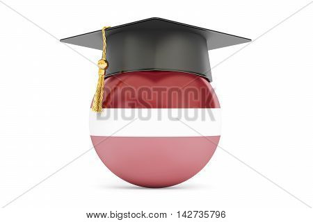 education in Latvia concept 3D rendering isolated on white background