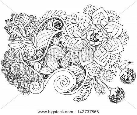 Fantasy flowers coloring page. Hand drawn doodle. Floral patterned vector illustration. African indian totem tribal zentangle design. Sketch for colouring page tattoo poster print t-shirt