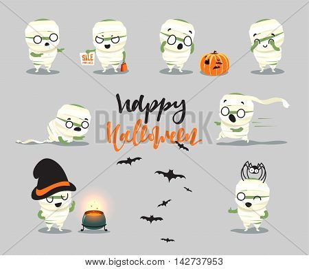 Happy Halloween. Set cute cartoon halloween character costumes, zombie, mummy. Funny doodle characters with hat cooks in the pot. Surprised fright, smile and fear