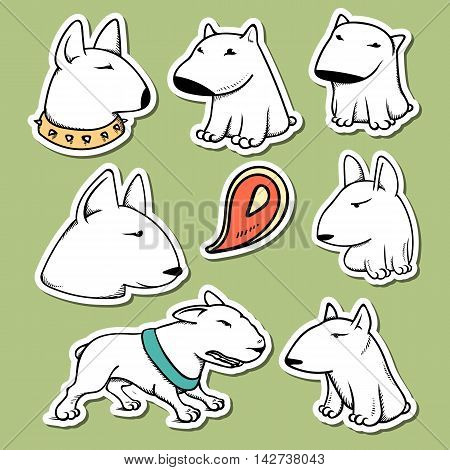 Dogs characters pitbull. Funny animals cartoon. Doodle sticker pets.