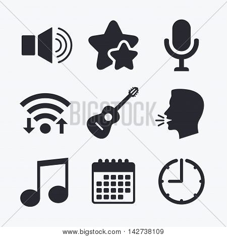 Musical elements icons. Microphone and Sound speaker symbols. Music note and acoustic guitar signs. Wifi internet, favorite stars, calendar and clock. Talking head. Vector