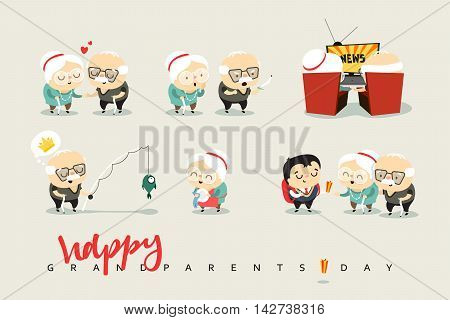 National Grandparents Day. Funny cartoon character elderly couple in love, grandparents. Doodle cute people isolated.
