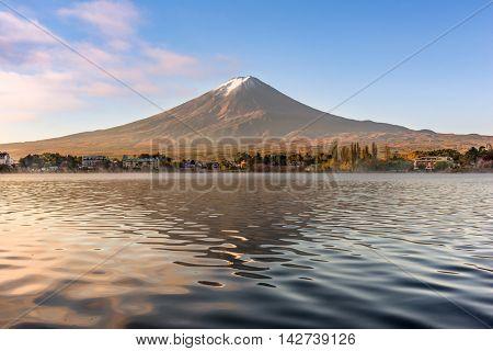 Mt. Fuji at Kawaguchi Lake in Japan.