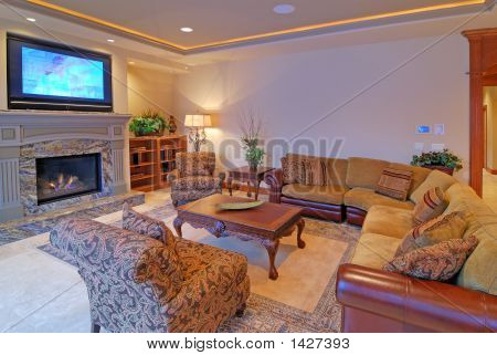 Luxurious Living Room with Plasma TV and Fire Place poster