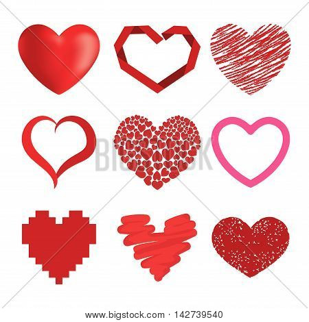 Simple red hearts sharp vector icon. Color card beautiful celebrate bright emoticon red heart symbols. Red heart holiday abstract art icon decoration. Romance shape design. Love amour heart symbol.
