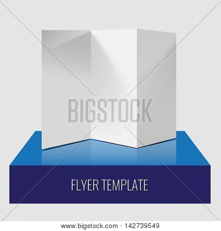 Blank trifold paper brochure or flyer realistic template with shadows and lighting effect on a 3d modern glossy box with reflection. Mock up design