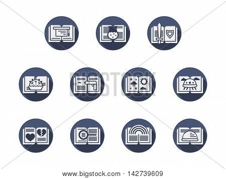 Different samples of literary genres and categories. Gray open books with fantasy and history stories, cooking, detectives and tutorials, science literature. Round blue flat vector icons collection.