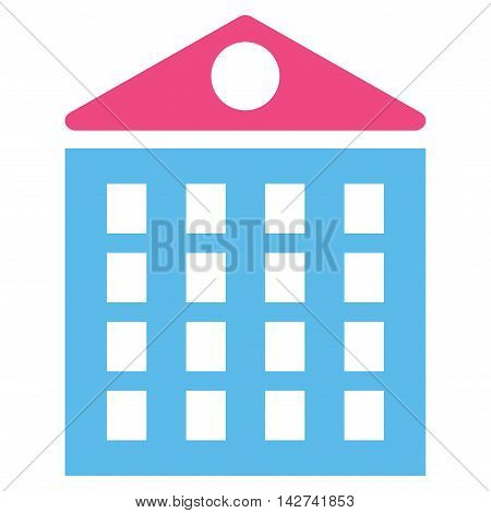 Multi-Storey House icon. Vector style is bicolor flat iconic symbol with rounded angles, pink and blue colors, white background.