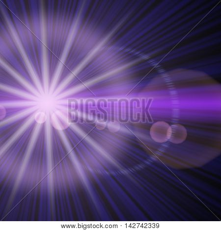 Big star with long violet rays.