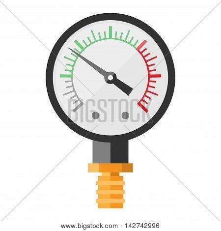 Pressure sensor manometer tool vector icon or pressure sensor on factory pipeline. Circle pressure temperature manometer sensor control for industrial. Water manometer pressure