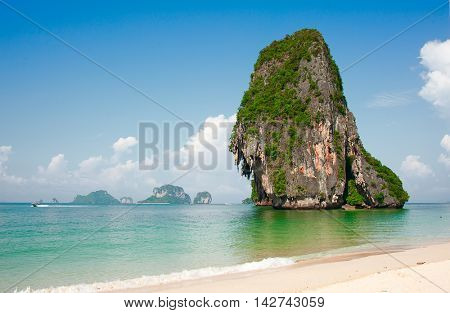 cliff island in Andaman sea, Krabi,  Thailand
