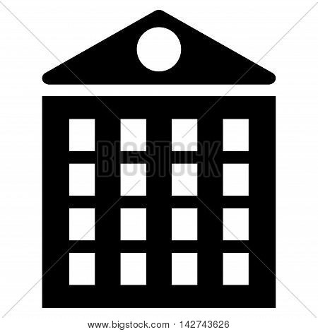 Multi-Storey House icon. Vector style is flat iconic symbol with rounded angles, black color, white background.
