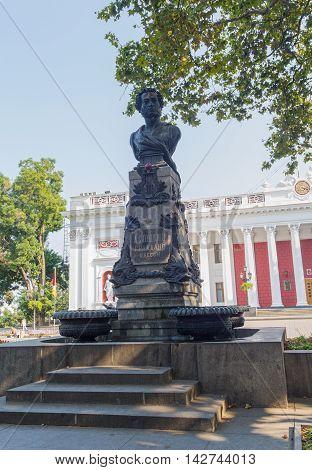 Odessa, Ukraine - August 28, 2015: Monument to the unknown poet Alexander Pushkin