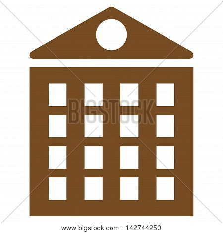 Multi-Storey House icon. Vector style is flat iconic symbol with rounded angles, brown color, white background.