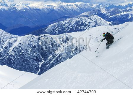 Freeride on slope in Chile mountains, september 2013