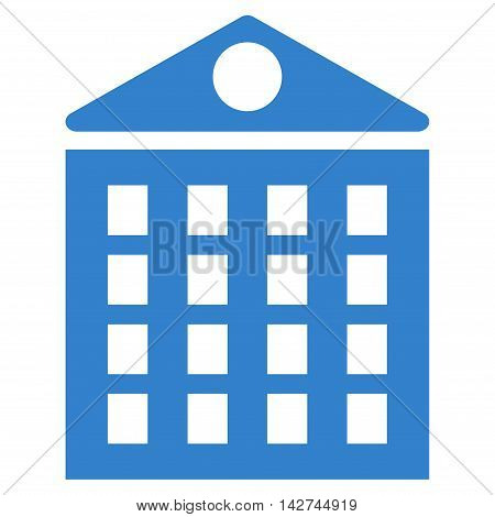 Multi-Storey House icon. Vector style is flat iconic symbol with rounded angles, cobalt color, white background.