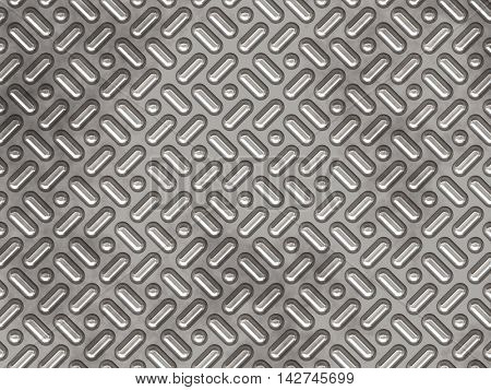 Grey metallic plate, with drop-shaped and spherical texture bumps.