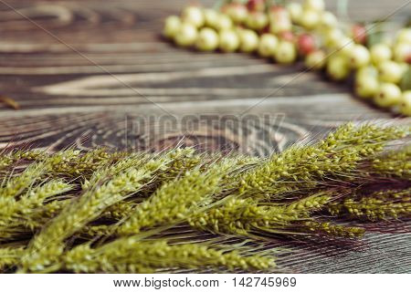 Fresh Sweet Small Apples and Grass on Wooden Background. Harvest Concept.