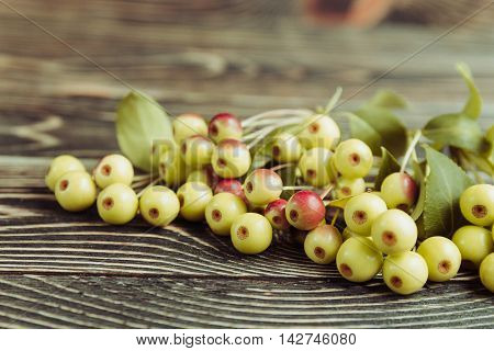 Fresh Sweet Small Apples on Wooden Background. Harvest Concept.