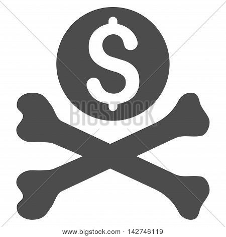 Mortal Debt icon. Vector style is flat iconic symbol with rounded angles, gray color, white background.