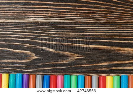 Multicolored Felt Tips Pens Background with Copy-space. Education Concept