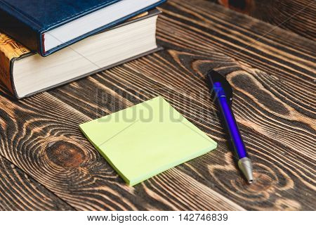 Education Concept. School and Office Supplies on Wooden Background with Place for your Text