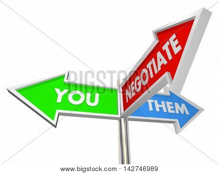 You Them Negotiate Compromise Settlement Three Way Signs 3d Illustration