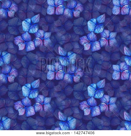 Blue violet hydrangea flowers composition seamless pattern background texture