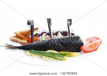 diet food - red caviar and smoked mackerel fish with lemon tomatoes and bread on white china plate isolated over white background
