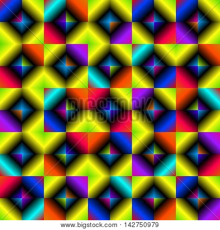 Background of multicolored lozenges. Abstract pattern in bright colors with the bulge.