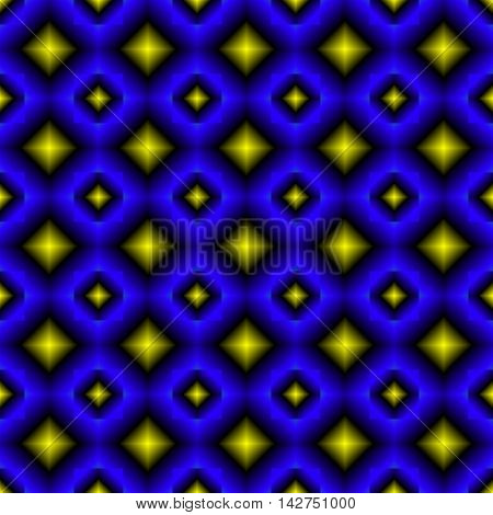 Background of blue and yellow diamond. Abstract pattern in bright colors with the bulge.