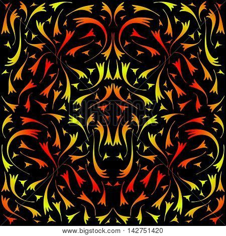 Yellow and red symmetrical pattern. The pattern of double lines on a black background.