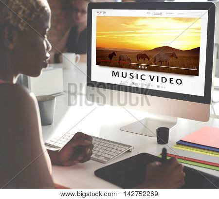 Streaming Multimedia Audio Entertainment Internet Concept