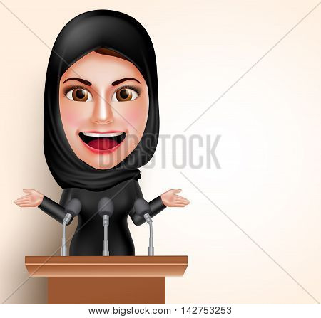 Muslim arab woman talking in microphone in front of conference for politic and women issues pointing blank space with friendly smile. Vector illustration.