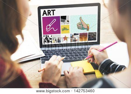 Paint Brush Communication Lady Concept