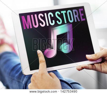 Audio Store Music Note Icon Graphic Concept