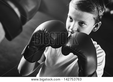 Boy Training Boxing Exercise Movement Concept