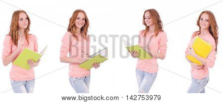 Young student with notebooks isolated on white