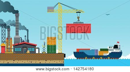 Warehouse and shipping port with a cargo ship.