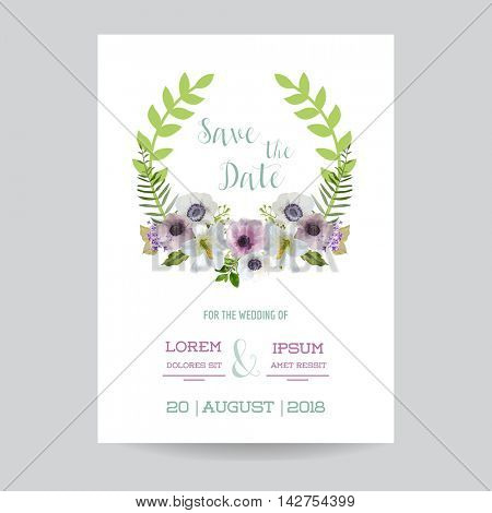 Save the Date Wedding Card.  Lily and Anemone Flowers. Vector Floral Wreath