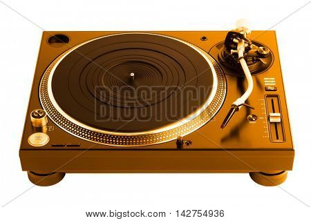 professional golden dj turntable, isolated on white