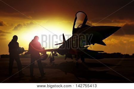 military aircraft on airfield with pilot walking towards the aircraft