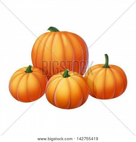 Four yellow pumpkin on a white background