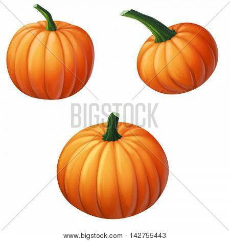 three yellow pumpkin on a white background
