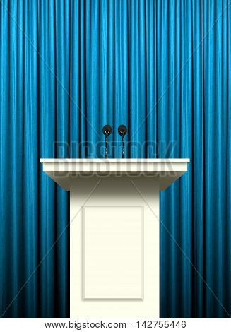white podium stand  over blue curtain background