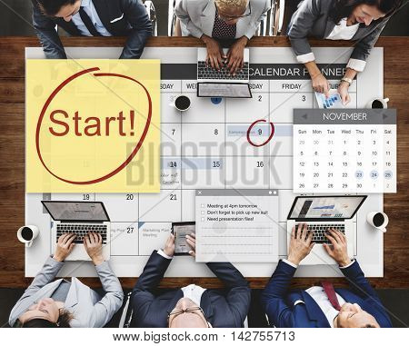 Start Ready Begining First Launch Concept