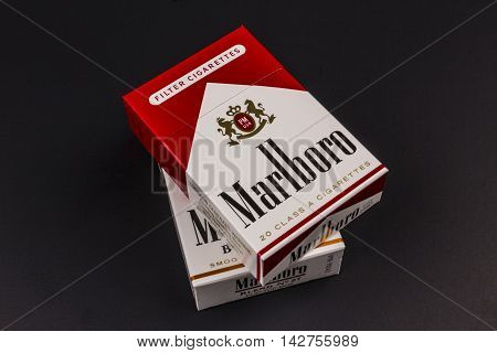 Indianapolis - Circa August 2016: Packs of Marlboro Cigarettes. Marlboro is a product of the Altria Group II